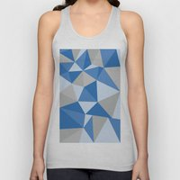 Blue & Gray Geometric Unisex Tank Top