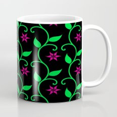 Pink flowers and green vines on black Mug