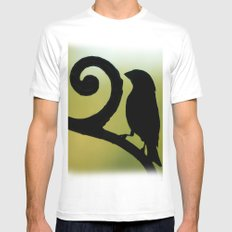Bird on the Ironwork SMALL White Mens Fitted Tee