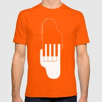 Music Hands Mens Fitted Tee Orange SMALL