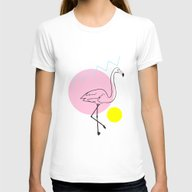 FLAMINGO Womens Fitted Tee White LARGE