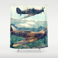Spitfire And Hurricane Water Color And Sketch`` Shower Curtain