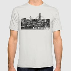 Golden Gate Bridge Mens Fitted Tee Silver SMALL
