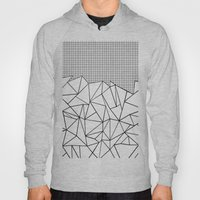 Abstract Outline Grid Black on White Hoody