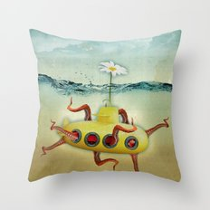 yellow submarine in an octapuses garden Throw Pillow