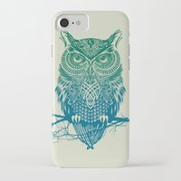 city iPhone & iPod Cases featuring Warrior Owl by Rachel Caldwell