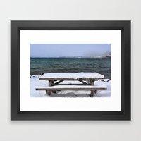 Frozen Bench Framed Art Print