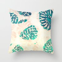 CALI TROPICAL LEAVES Throw Pillow