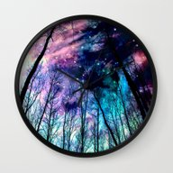 Wall Clock featuring Black Trees Colorful Spa… by 2sweet4words Designs