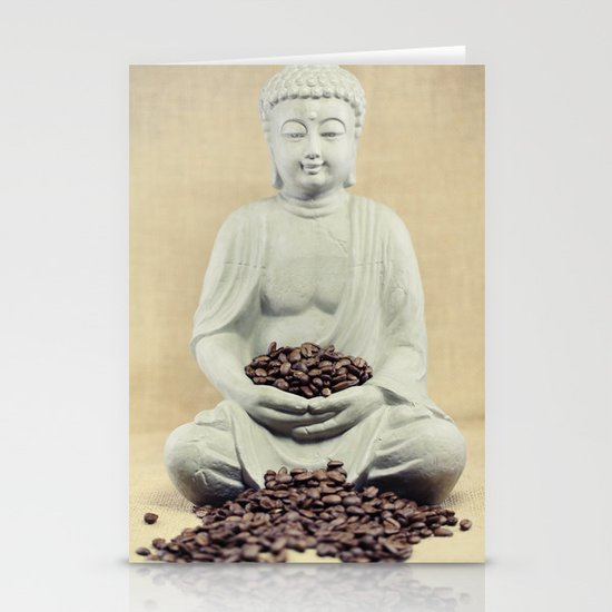 Coffee beans Buddha 3 Stationery Card