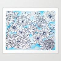Floral Doodle in Blue Art Print