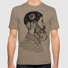 BEARDED MAN Mens Fitted Tee Tri-Coffee SMALL
