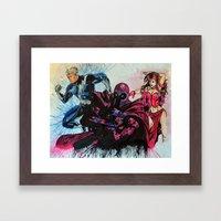 Magneto, Quicksilver, Scarlet Witch Framed Art Print