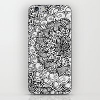 Shades of Grey - mono floral doodle iPhone & iPod Skin