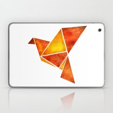 Watercolor origami orange pigeon Laptop & iPad Skin
