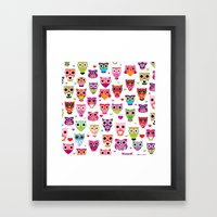 Cute colorful retro style owl illustration pattern Framed Art Print