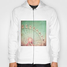 Ferris Wheel on Blue Textured Sky  Hoody