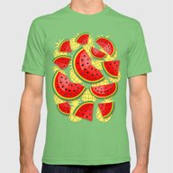 Watermelon And Pineapple… Mens Fitted Tee Grass SMALL
