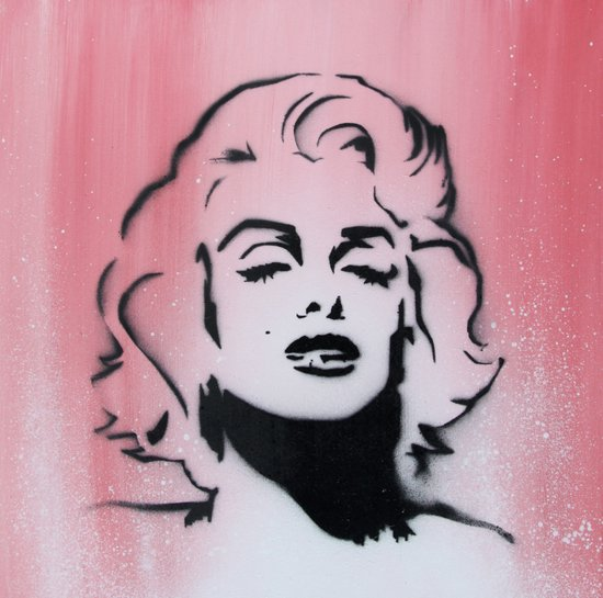 Marilyn Monroe Stencil on Pink Background Canvas Print
