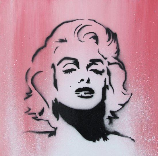 Marilyn Monroe Stencil on Pink Background Art Print