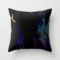 Neon Moon Throw Pillow