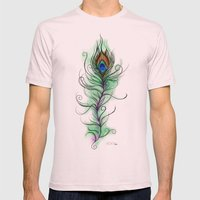 Peacock Feather Mens Fitted Tee Light Pink SMALL