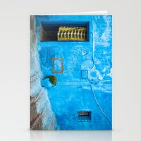Moroccan House with Blue Wall and Green Curtain. Stationery Cards
