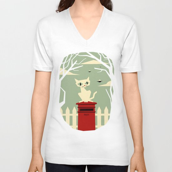 Let's meet at the red post box V-neck T-shirt