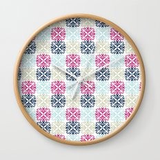 Floral Geometric - Navy & Pink Wall Clock