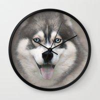 Siberian Husky 2 Wall Clock