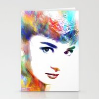 audrey hepburn Stationery Cards featuring Audrey Hepburn by Michael Akers