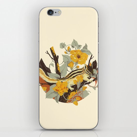 Chipmunk & Morning Glory iPhone & iPod Skin