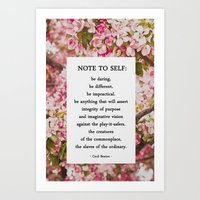 note to self. Art Print