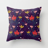 Vintage Ditsy Floral Throw Pillow