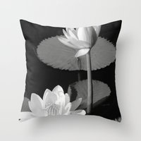 Black & White Lilypad Throw Pillow