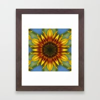 Sunflower Kaleidoscope Framed Art Print
