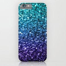 Beautiful Aqua blue Ombre glitter sparkles iPhone 6s Slim Case