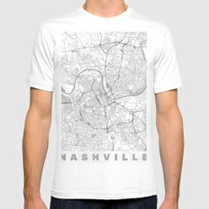 Nashville Map Line White Mens Fitted Tee SMALL