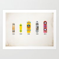Evolution of skate deck Art Print