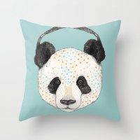 Polkadot Panda Throw Pillow