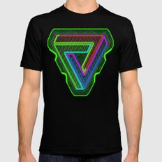 TRIFORCE #3 Impossible Triangle Psychedelic Optical Illusion Mens Fitted Tee SMALL Black