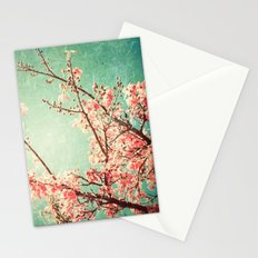 Pink Autumn Leafs on Blue Textured Sky (Vintage Nature Photography) Stationery Cards