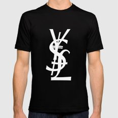 YSL Dollar Yen GBP Symbol SMALL Black Mens Fitted Tee