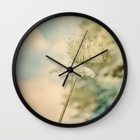 Cloudy with Sunshine and Queen Anne's Lace Wild Flowers in a Meadow Wall Clock