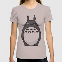 Totoro Pop Art - Black V… Womens Fitted Tee Cinder SMALL