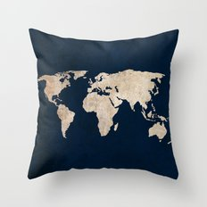Inverted Rustic World Map Throw Pillow