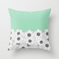 Daisy Boarder Mint Throw Pillow