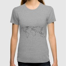 WORLD II Womens Fitted Tee Athletic Grey SMALL