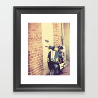 Black and White Vespa Framed Art Print