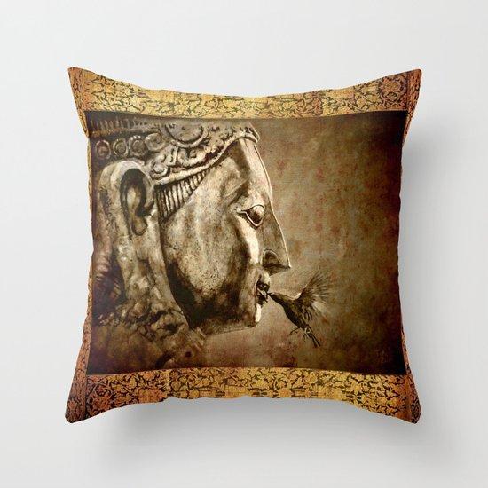 Buddha Kiss - vintage Throw Pillow